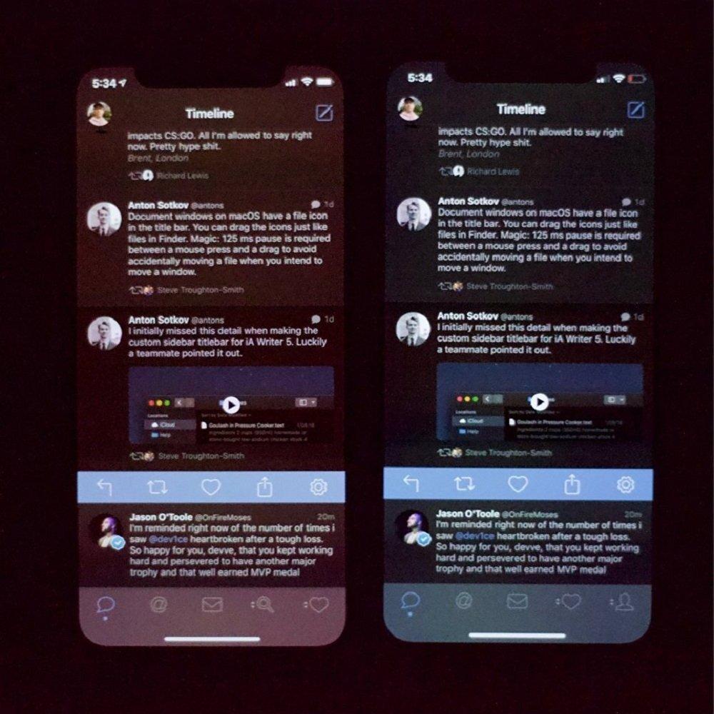 帖子作者称,iPhone Xs屏幕在最小亮度值下看起来非常糟糕,他附上了iPhone X上的照片作为比对