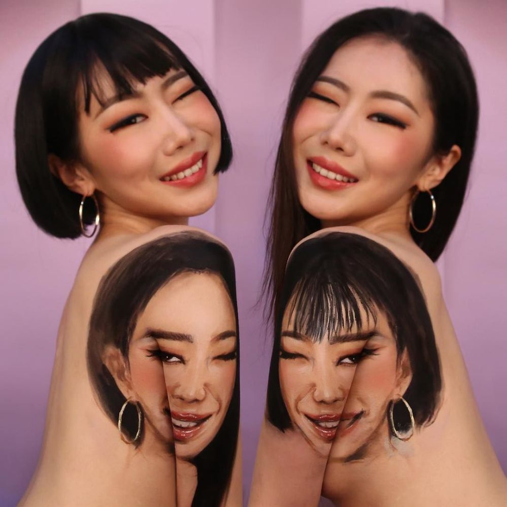 韩国艺术家在自己身上创作奇幻错视图