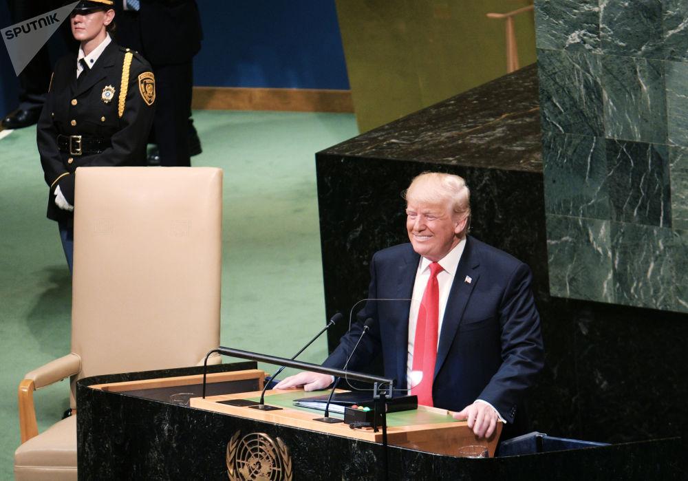 美国总统唐纳德·特朗普在联合国大会上发表演讲