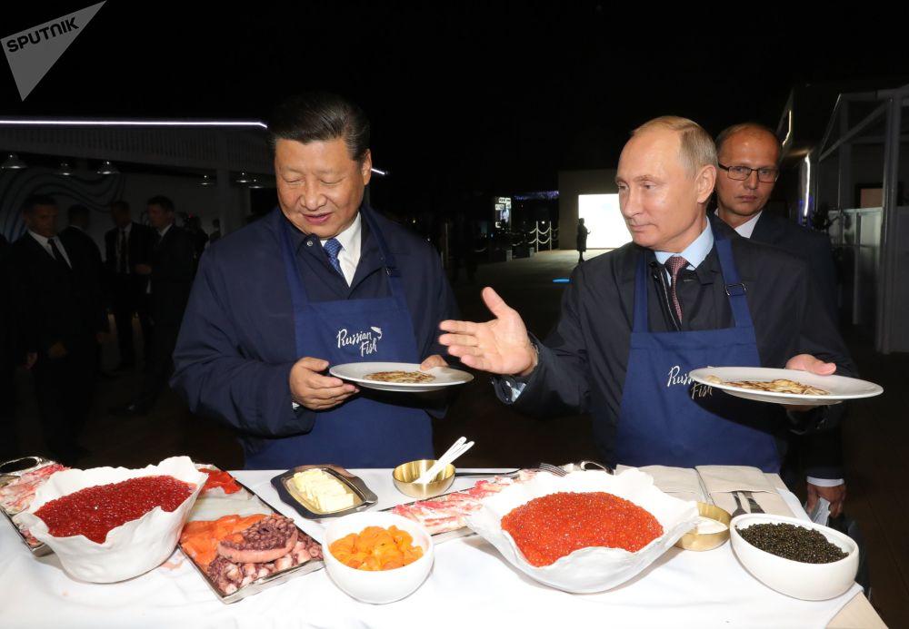 中国国家主席习近平与俄罗斯总统弗拉基米尔·普京在符拉迪沃斯托克出席东方经济论坛期间参观展览