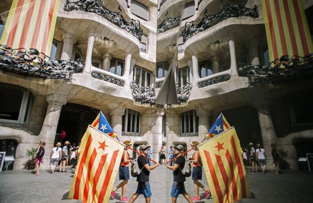加泰罗尼亚独立支持者在西班牙巴塞罗那举行活动