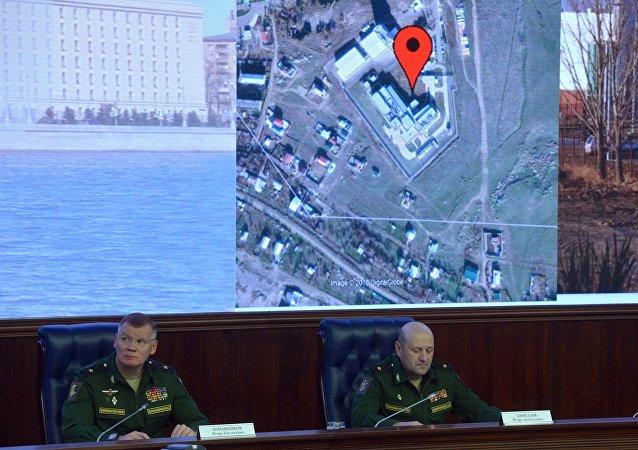 俄國防部俄羅斯武裝力量防核生化部隊司令伊戈爾·基里洛夫和俄國防部發言人科納申科夫少將