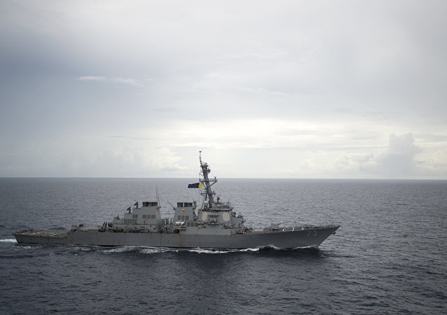 U.S. Navy, guided-missile destroyer USS Decatur (DDG 73) operates in the South China Sea