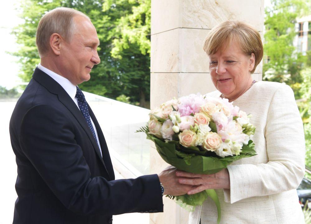 俄罗斯总统弗拉基米尔·普京和德国联邦总理安吉拉·默克尔在索契会晤