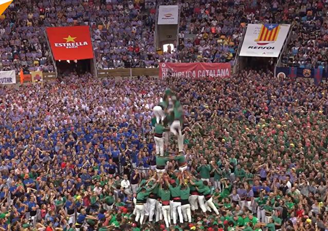 西班牙加泰羅尼亞舉行「疊人塔」比賽