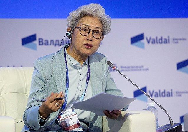 中國全國人大外事委員會副主任委員傅瑩在俄羅斯索契舉行的第十五屆瓦爾代國際辯論俱樂部年會上發言