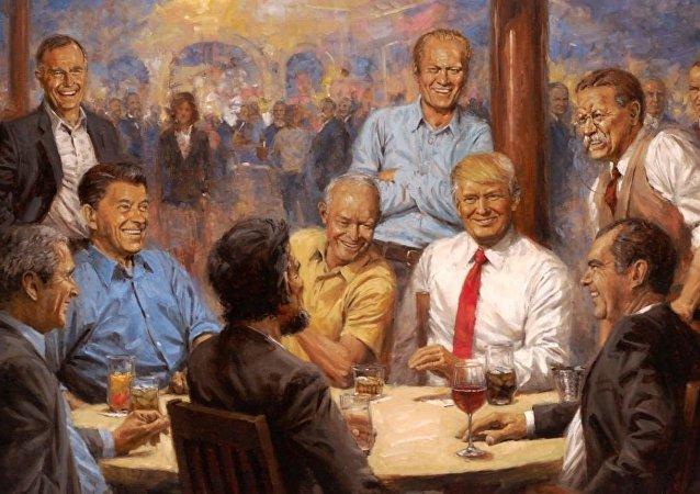 白宮現新畫:特朗普與歷屆共和黨總統暢飲