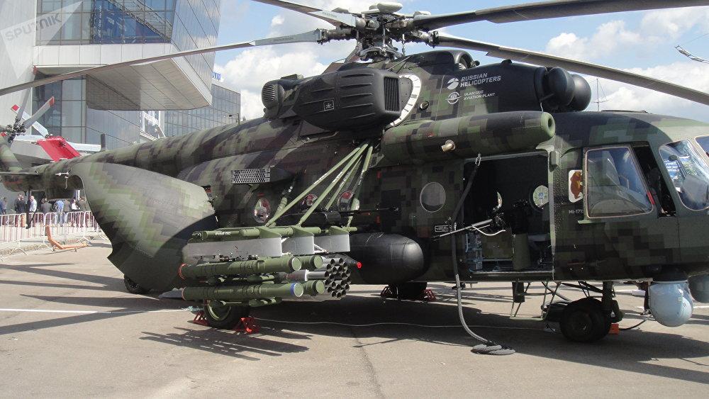 2018莫斯科國際直升機展覽會(HeliRussia-2018)上的米-171Sh 武裝運輸直升機。直升機裝備精良,可為空降兵空中機動提供火力支持