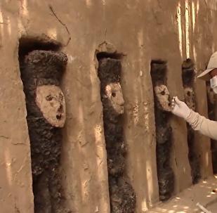 秘鲁昌昌古城出土木制雕像