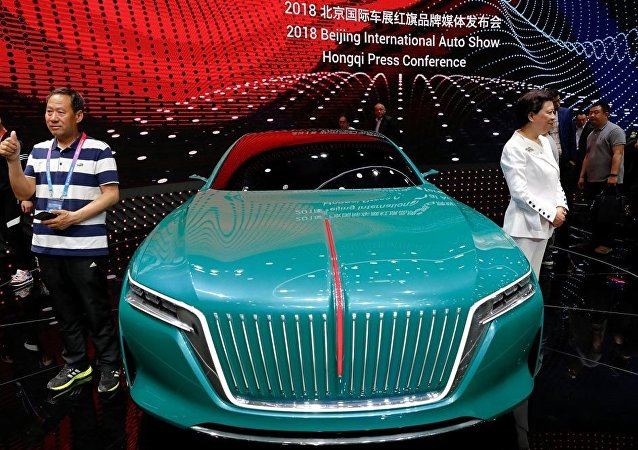 A concept car is displayed at the booth of FAW Group car brand Hongqi, Chinese for red flag, during a media preview of the Auto China 2018 motor show in Beijing, China April 25, 2018.