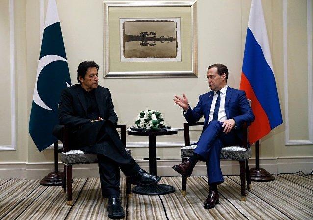 俄总理在上海进博会期间会见巴基斯坦总理
