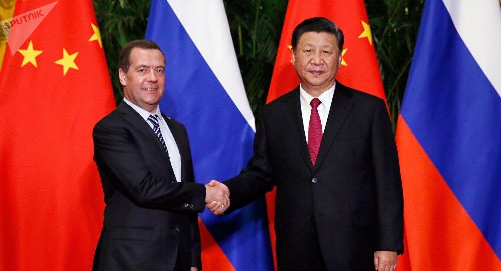 俄罗斯总理梅德韦杰夫5日与中国国家主席习近平举行会晤