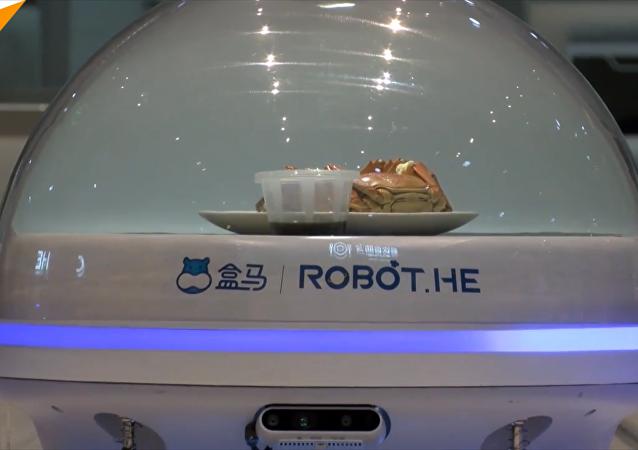 阿里无人餐厅机器人取代服务员