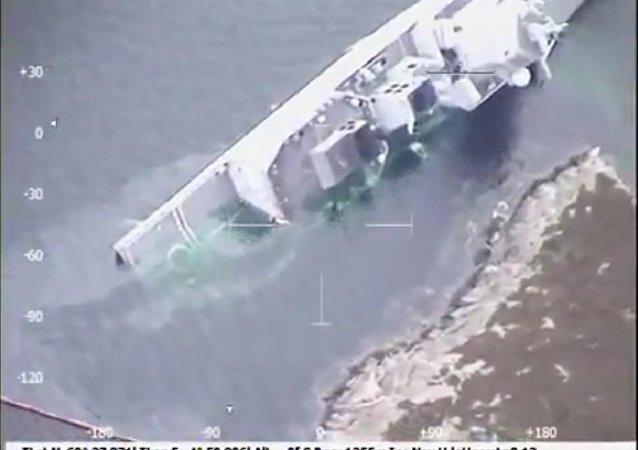 网络出现沉没的挪威海军护卫舰的视频
