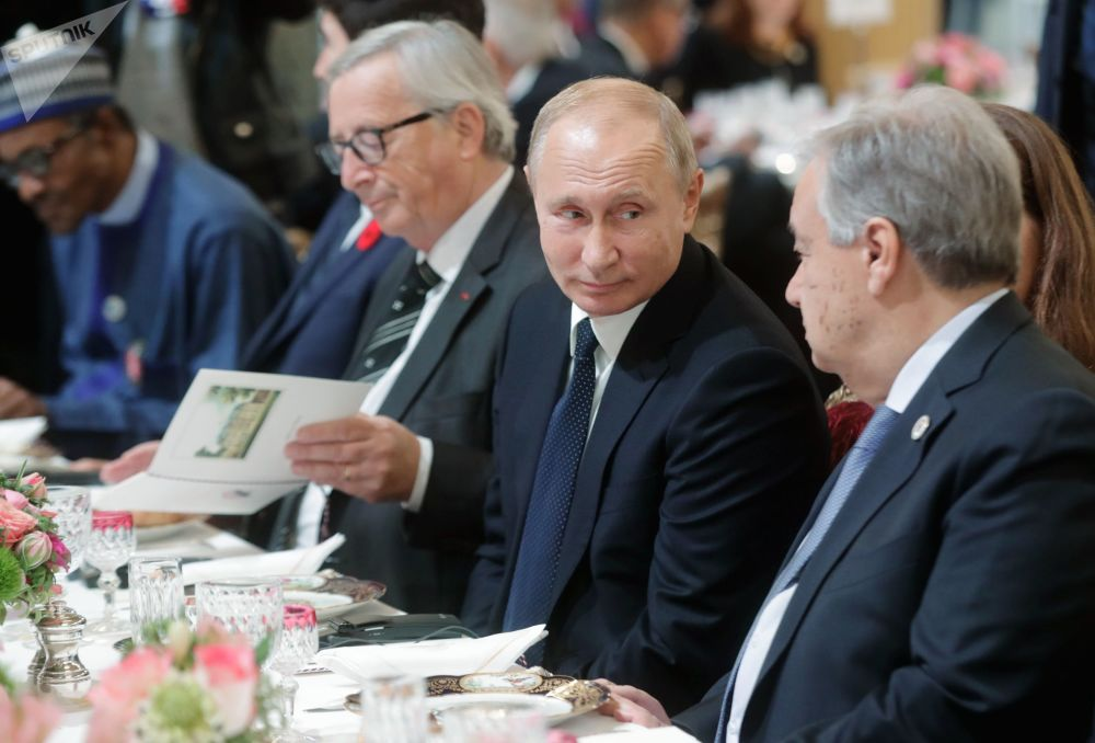 俄羅斯總統弗拉基米爾·普京出席法國總統馬克龍為各國領導人舉辦的工作早餐會