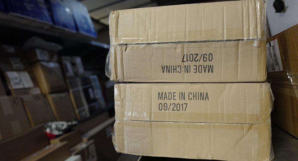 Надпись Сделано в Китае на коробках для экспорта