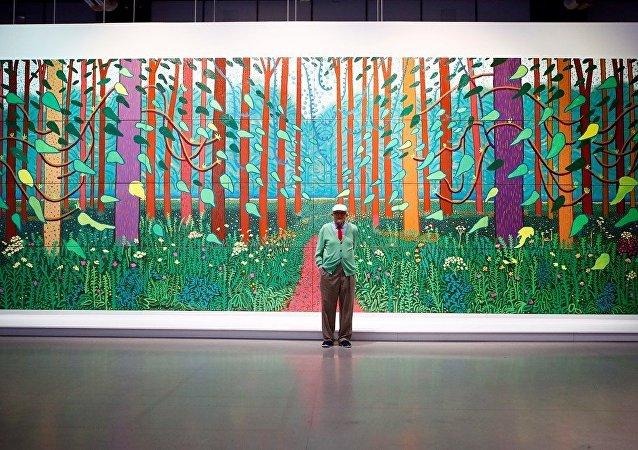 英国艺术家霍克尼作品创在世艺术家作品拍卖纪录