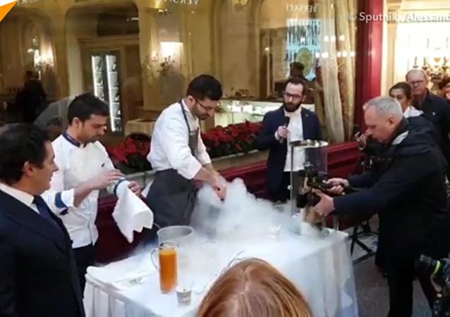 著名意大利冰淇淋大師在莫斯科