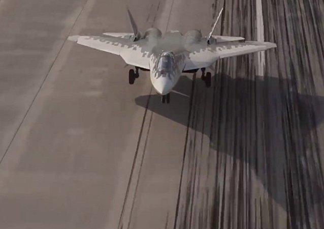 视频显示两架苏-57同步降落