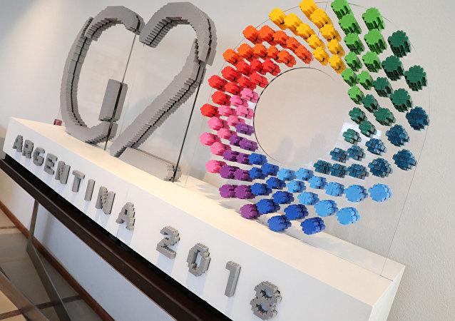 Логотип G20 в Аргентине.