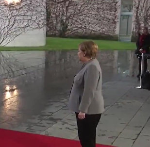 英国首相梅姨在同默克尔会晤前被锁车内无法下车