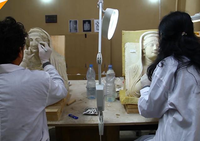 敘利亞文物修復小組「拯救」戰火中受損雕像