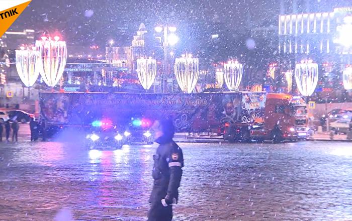 俄罗斯主新年枞树运抵克里姆林宫
