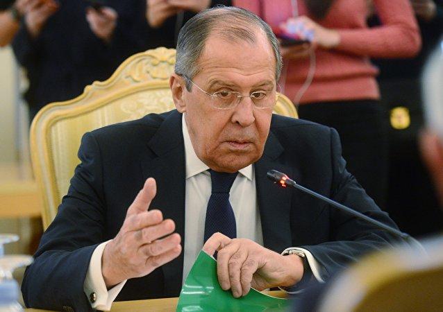 Министр иностранных дел РФ Сергей Лавров во время встречи с министром иностранных дел Государства Палестина Риядом аль-Малики.