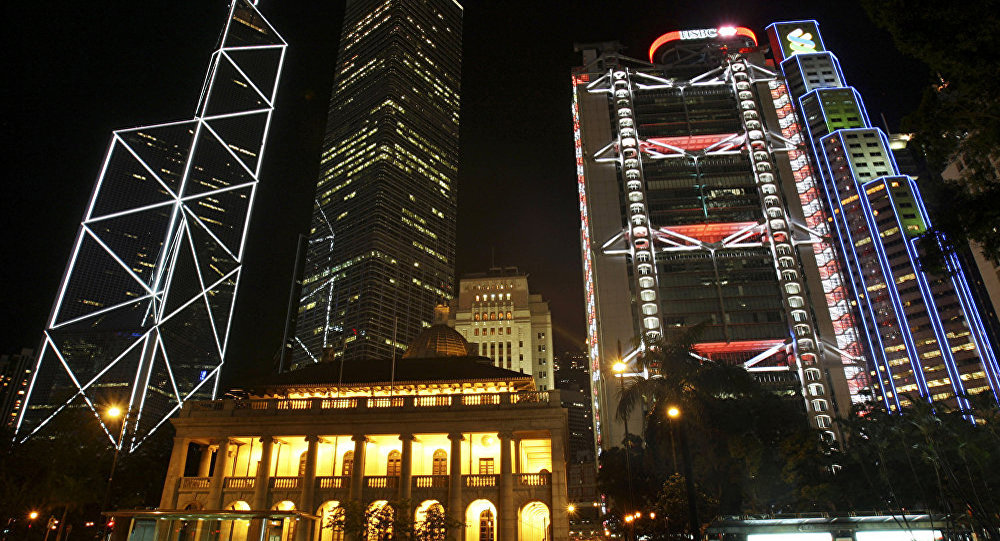 A general view of central downtown, including from top left, Bank of China, The Cheung Kong Center, HSBC's headquarters and the Standard Chartered Bank as well as the Legislation Council.