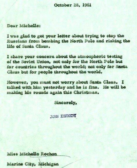 美国公开肯尼迪关于苏联威胁圣诞老人的一封信