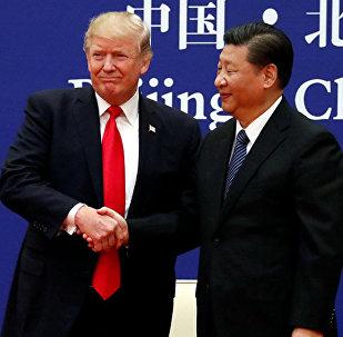 美國總統特朗普(左)和中國國家主席習近平