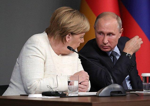 俄羅斯總統普京與德國總理默克爾