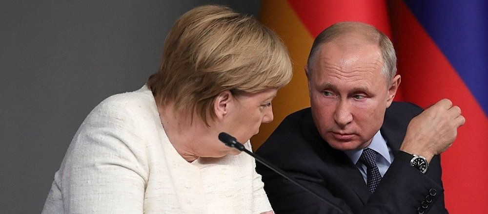 俄罗斯总统普京与德国总理默克尔
