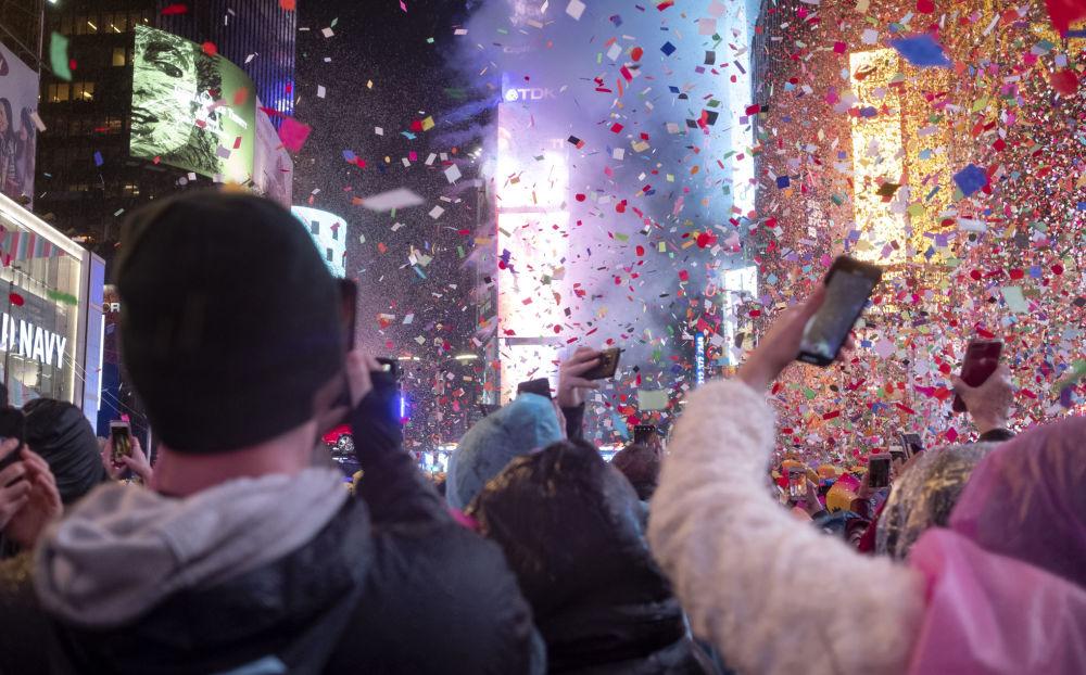 紐約時代廣場上的新年慶祝活動