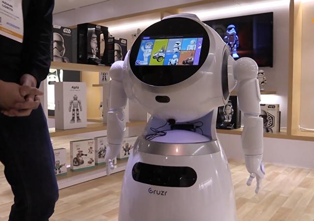 中国智能云平台商用服务机器人亮相CES展会