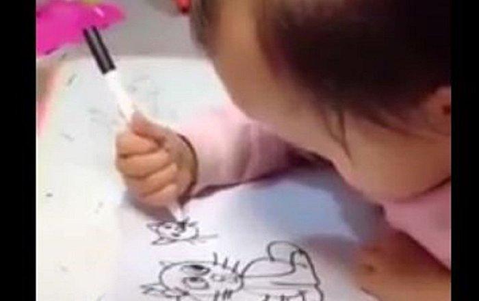 中國一名小萌寶紙上畫功優於大人