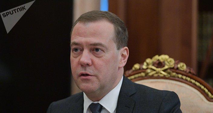 Президент РФ В. Путин встретился с премьер-министром РФ Д. Медведевым