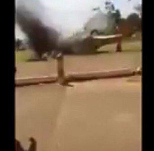 馬里軍用直升機墜毀一刻被拍下