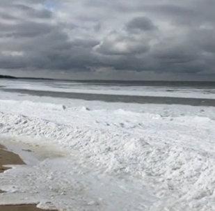 美国东海岸海浪冻结