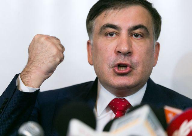 Бывший губернатор Одесской области Украины и лидер политической партии Рух нових сил Михаил Саакашвили во время пресс-конференции
