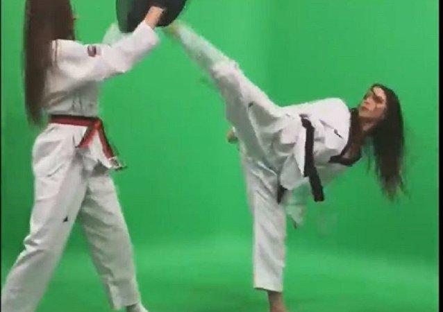 塞尔维亚的女跆拳道大师