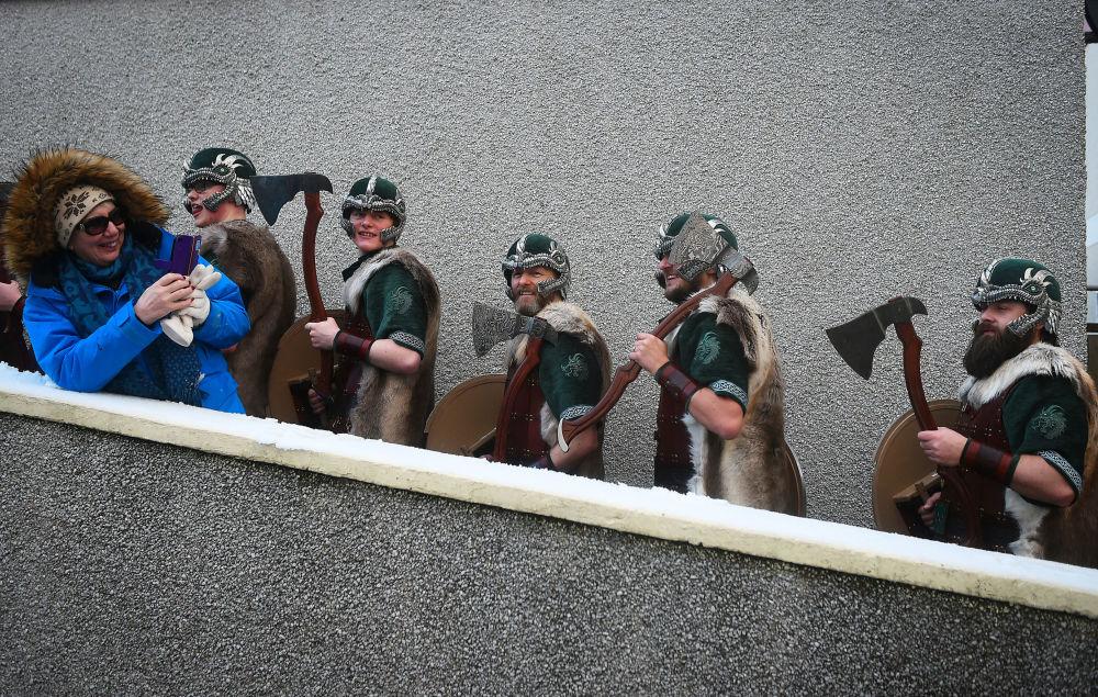 苏格兰设得兰群岛庆祝维京节