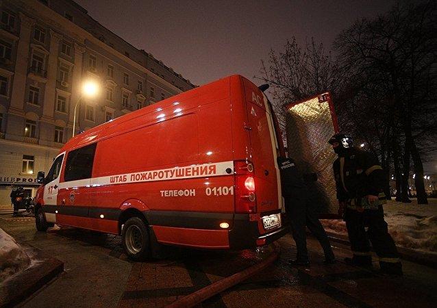 莫斯科尼基茨基大道12号发生火灾