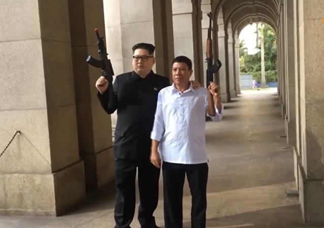 """杜特尔特和金正恩的""""双胞胎""""兄弟出现在香港"""