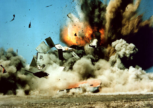 A BGM-109 Tomahawk cruise missile destroys its target