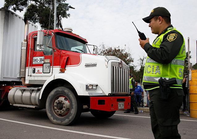 第一批給予委內瑞拉的人道主義救援物資運到了哥倫比亞