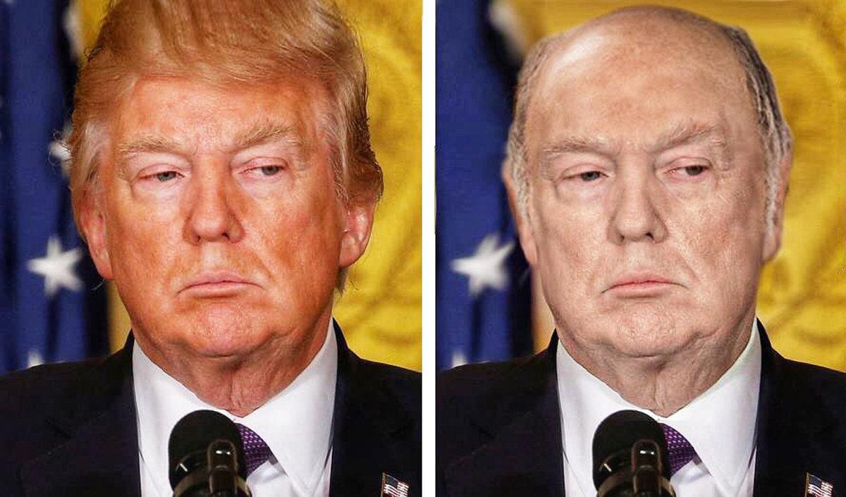 特朗普秃头白脸照笑翻网友