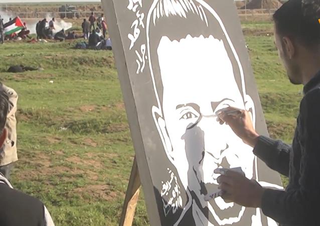 巴勒斯坦画家边境区作画以声援斗争