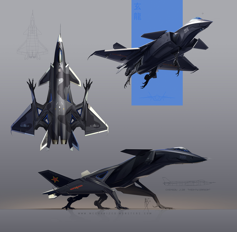 美國女漫畫家將殲-20戰鬥機畫成了怪物