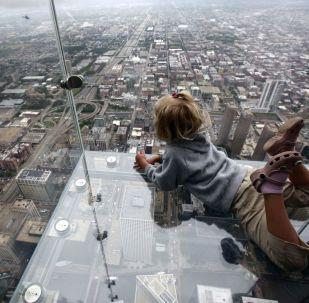 芝加哥韦莱集团大厦的天空观景台。